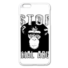 Stop Animal Abuse   Chimpanzee  Apple Iphone 6 Plus/6s Plus Enamel White Case by Valentinaart