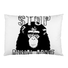 Stop Animal Abuse   Chimpanzee  Pillow Case by Valentinaart