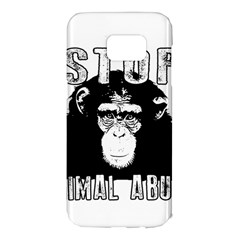 Stop Animal Abuse   Chimpanzee  Samsung Galaxy S7 Edge Hardshell Case by Valentinaart