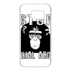 Stop Animal Abuse   Chimpanzee  Samsung Galaxy S7 White Seamless Case by Valentinaart