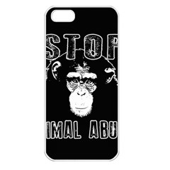 Stop Animal Abuse   Chimpanzee  Apple Iphone 5 Seamless Case (white) by Valentinaart