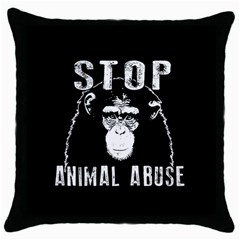 Stop Animal Abuse   Chimpanzee  Throw Pillow Case (black) by Valentinaart