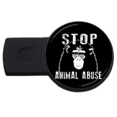 Stop Animal Abuse   Chimpanzee  Usb Flash Drive Round (2 Gb) by Valentinaart
