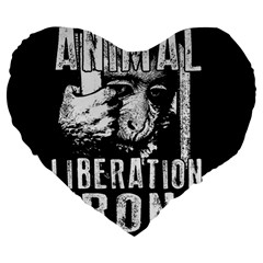 Animal Liberation Front   Chimpanzee  Large 19  Premium Flano Heart Shape Cushions by Valentinaart
