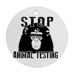 Stop Animal Testing   Chimpanzee  Round Ornament (two Sides)