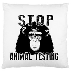Stop Animal Testing   Chimpanzee  Large Flano Cushion Case (two Sides) by Valentinaart