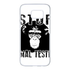 Stop Animal Testing   Chimpanzee  Samsung Galaxy S7 Edge White Seamless Case by Valentinaart