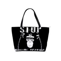 Stop Animal Testing   Chimpanzee  Shoulder Handbags by Valentinaart
