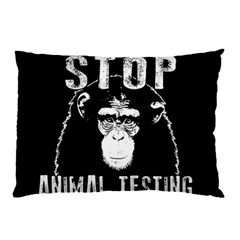 Stop Animal Testing   Chimpanzee  Pillow Case (two Sides) by Valentinaart