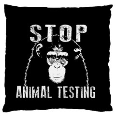 Stop Animal Testing   Chimpanzee  Standard Flano Cushion Case (two Sides) by Valentinaart