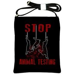 Stop Animal Testing   Rabbits  Shoulder Sling Bags by Valentinaart