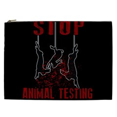 Stop Animal Testing   Rabbits  Cosmetic Bag (xxl)  by Valentinaart
