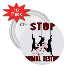 Stop Animal Testing   Rabbits  2 25  Buttons (10 Pack)  by Valentinaart