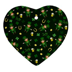 St Patricks Day Pattern Ornament (heart) by Valentinaart