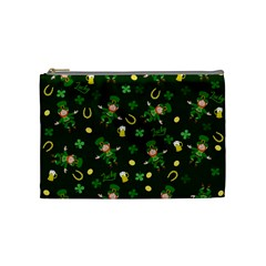 St Patricks Day Pattern Cosmetic Bag (medium)  by Valentinaart