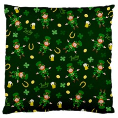 St Patricks Day Pattern Large Flano Cushion Case (two Sides) by Valentinaart