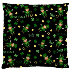 St Patricks Day Pattern Large Flano Cushion Case (one Side) by Valentinaart