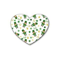 St Patricks Day Pattern Rubber Coaster (heart)