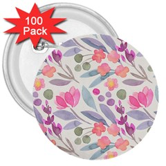 Purple And Pink Cute Floral Pattern 3  Buttons (100 Pack)  by paulaoliveiradesign