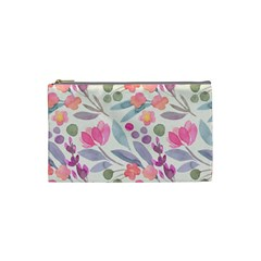 Purple And Pink Cute Floral Pattern Cosmetic Bag (small)  by paulaoliveiradesign