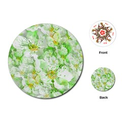 Light Floral Collage  Playing Cards (round)