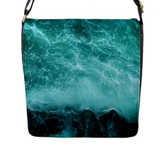 Green Ocean Splash Flap Messenger Bag (l)  by snowwhitegirl