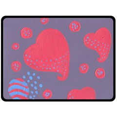 Lollipop Attacked By Hearts Double Sided Fleece Blanket (large)  by snowwhitegirl