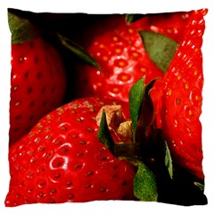 Red Strawberries Large Flano Cushion Case (one Side) by snowwhitegirl