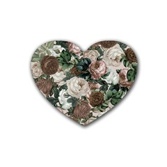 Rose Bushes Brown Rubber Coaster (heart)
