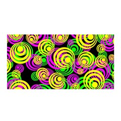 Bright Yellow Pink And Green Neon Circles Satin Wrap by PodArtist