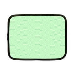 Classic Mint Green & White Herringbone Pattern Netbook Case (small)  by PodArtist