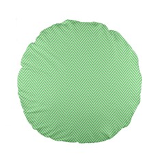 Classic Mint Green & White Herringbone Pattern Standard 15  Premium Round Cushions by PodArtist
