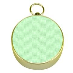 Classic Mint Green & White Herringbone Pattern Gold Compasses by PodArtist