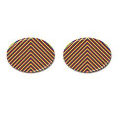 Gay Pride Flag Rainbow Chevron Stripe Cufflinks (oval) by PodArtist