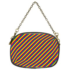 Gay Pride Flag Candy Cane Diagonal Stripe Chain Purses (two Sides)