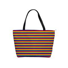 Horizontal Gay Pride Rainbow Flag Pin Stripes Shoulder Handbags by PodArtist