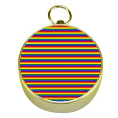 Horizontal Gay Pride Rainbow Flag Pin Stripes Gold Compasses by PodArtist
