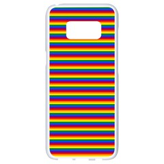 Horizontal Gay Pride Rainbow Flag Pin Stripes Samsung Galaxy S8 White Seamless Case by PodArtist