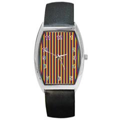 Vertical Gay Pride Rainbow Flag Pin Stripes Barrel Style Metal Watch by PodArtist