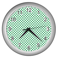 Green Shamrock Clover On White St  Patrick s Day Wall Clocks (silver)  by PodArtist