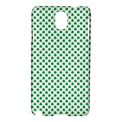 Green Shamrock Clover On White St  Patrick s Day Samsung Galaxy Note 3 N9005 Hardshell Case by PodArtist