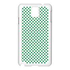 Green Shamrock Clover On White St  Patrick s Day Samsung Galaxy Note 3 N9005 Case (white) by PodArtist