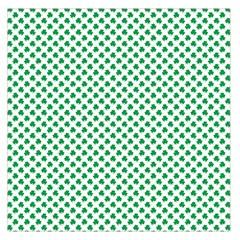 Green Shamrock Clover On White St  Patrick s Day Large Satin Scarf (square) by PodArtist