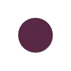 Small Hot Pink Irish Shamrock Clover On Black Golf Ball Marker (4 Pack) by PodArtist