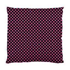 Small Hot Pink Irish Shamrock Clover On Black Standard Cushion Case (one Side) by PodArtist
