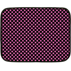 Small Hot Pink Irish Shamrock Clover On Black Fleece Blanket (mini) by PodArtist