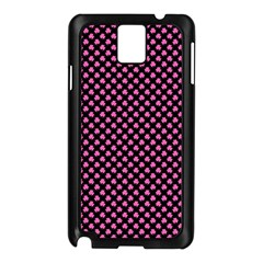 Small Hot Pink Irish Shamrock Clover On Black Samsung Galaxy Note 3 N9005 Case (black) by PodArtist