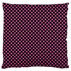 Small Hot Pink Irish Shamrock Clover On Black Standard Flano Cushion Case (two Sides) by PodArtist