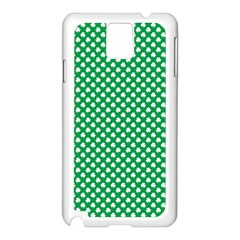 White Shamrocks On Green St  Patrick s Day Ireland Samsung Galaxy Note 3 N9005 Case (white) by PodArtist