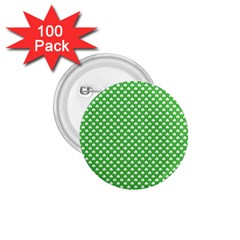 White Heart Shaped Clover On Green St  Patrick s Day 1 75  Buttons (100 Pack)  by PodArtist